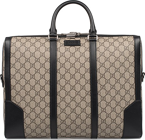 GUCCI MENS 406384KHN7N9772 BEIGE/BLACK LEATHER TRAVEL BAG