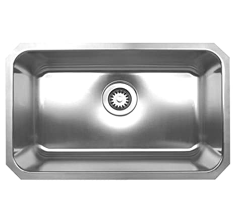 Whitehaus WHNU2816-BSS Noah's Collection 30-1/4-Inch Single Bowl Rectangular Undermount Kitchen Sink, Brushed Stainless Steel