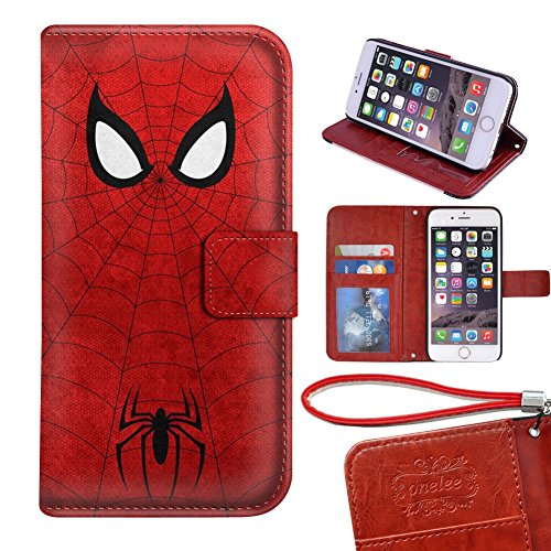 "Spider Man regular iPhone 6 4.7"" wallet Case, Onelee Marvel Comic Hero Spider Man Premium PU Leather Case Wallet Flip Stand Case Cover for regular iPhone 6 with Card Slots"
