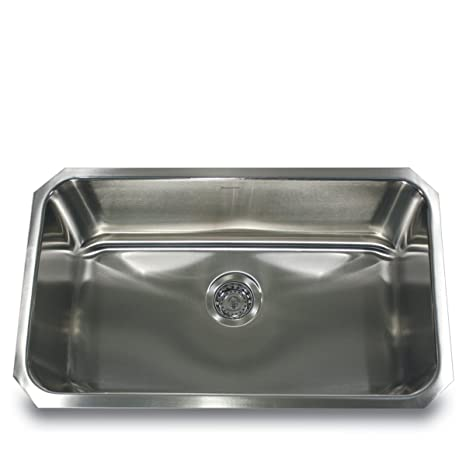 Nantucket Sinks NS3018-9-16 30-Inch and 9-Inch  Deep Rectangle Single Bowl Undermount  Kitchen Sink, Stainless Steel, Large