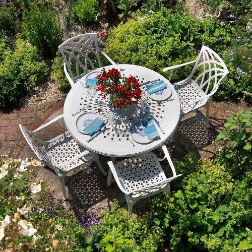 Weißes Gartenmöbelset Amy 120cm Runde Aluminium Gartengarnitur- 1 Weißer AMY Tisch + 4 Weiße Emma SAStühle jetzt bestellen