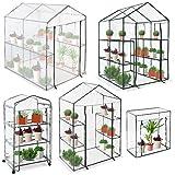 Jago - Serre de balcon, terrasse, jardin - structure en fer avec bâche transparente en PVC - avec étagères - MODÈLE AU CHOIX