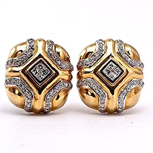 Estate 2.00cts Diamond Gold Wide Clip Back Earrings