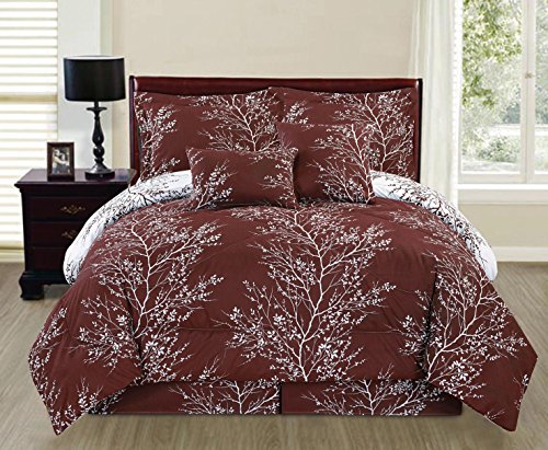 Ace 6-piece Reversible Soft Earth Brown Tree Branches Comforter Set (Full size) (Full Size Bed Quilt compare prices)
