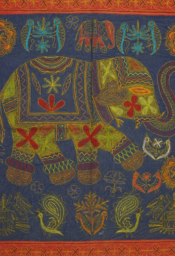 Imagen 1 de Vintage Indian Elephant Tapiz colgante de pared Throw Art Antique Decor India Tamaño 60 x 37 pulgadas