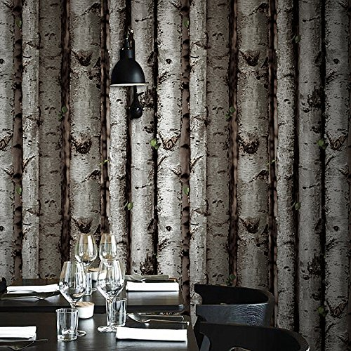 Birch tree 3d wall mural wallpaper 57sqft vinyl coated for Birch wall mural