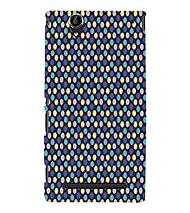 Blue Yellow Dots Pattern Cute Fashion 3D Hard Polycarbonate Designer Back Case Cover for Sony Xperia T2 Ultra :: Sony Xperia T2 Ultra Dual SIM D5322 :: Sony Xperia T2 Ultra XM50h