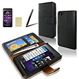 SQdeal® BlackBerry Z10 Wallet Case,Classic Black PU Leather Flip Folio Slim Stand Case Cover + Stylus Pen + Screen Protector + Clean Cloth (with 2 card slots and money pocket)