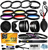 Professional Lenses Filters Accessories Kit includes 0.43x Wide Angle + 2.2x Telephoto HD Lens + UV CPL Warming + Graduated 6 Piece Color Filter + Macro Close Up Set + Tulip Lens Hood + Lens Cap with Keeper + Cleaning Kit + Dustoff Blower + 50$ Digital Pr