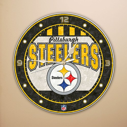 Pittsburgh Steelers 12 Inch Art Glass Clock from SteelerMania
