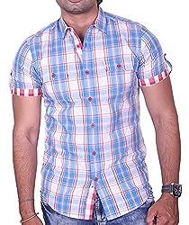 Equipoise Men's Cotton Casual Shirt (EQ01 S/39_Blue_S )