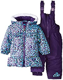 Pink Platinum Baby Girls\' All Over Cheetah Snowsuit, Blue, 18 Months