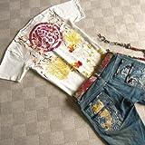 mts153 和柄 Tシャツ 家紋 刺繍 金魚【3色】 メンズ 半袖 Tシャツ 半袖Tシャツ