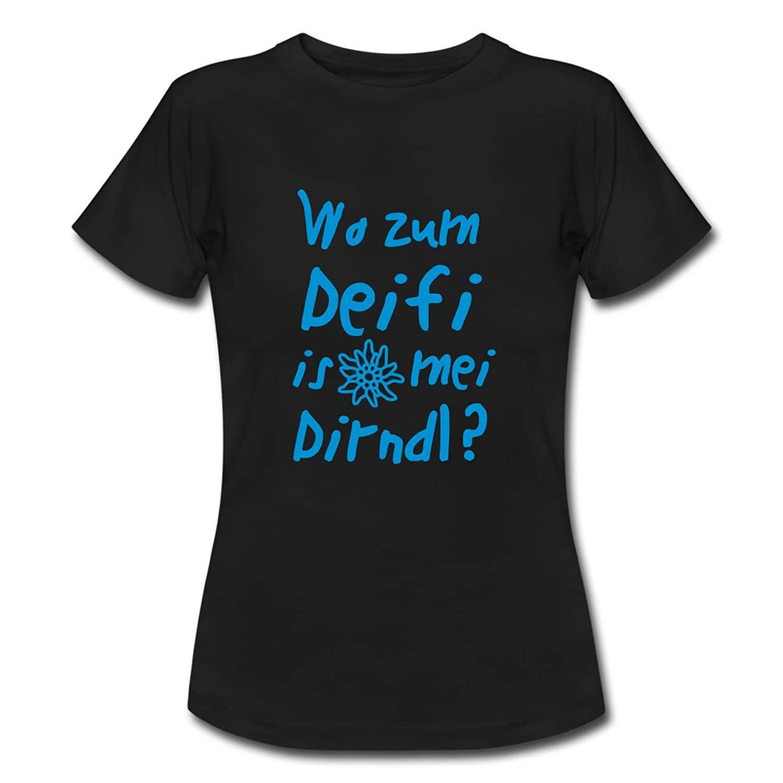 Spreadshirt Damen Wo zum Deifi is mei Dirndl T-Shirt online bestellen