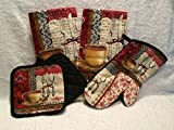Kitchen Towel Set 5 Piece Coffee Theme Design That Includes 2 Dish Towels, 2 Pot Holders, and 1 Oven Mitt