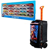 Bundle Includes 2 Items - Hot Wheels 20 Car Gift Pack (Styles May Vary) and Hot Wheels 100-Car, Rolling Storage Case with Retractable Handle