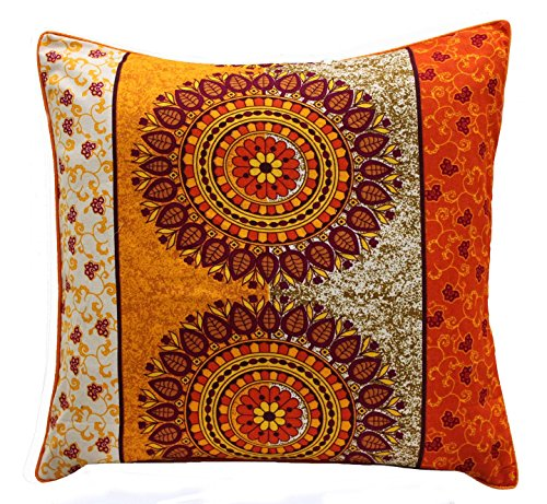 AURAVE Traditional Yellow and Orange Premium Cotton Cushion Cover - 12 inch x 12 inch (Set of 2 pcs)