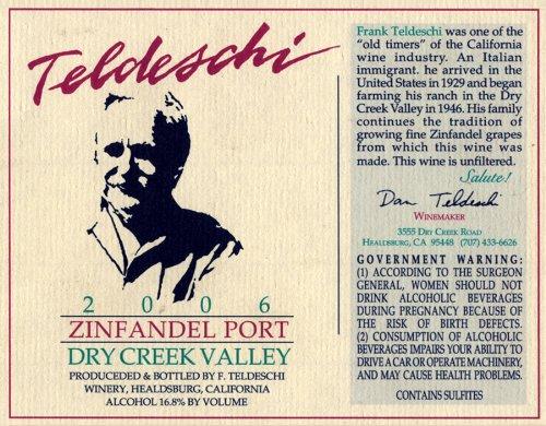 2006 Teldeschi Zinfandel Port, Estate, Dry Creek Valley 500 Ml