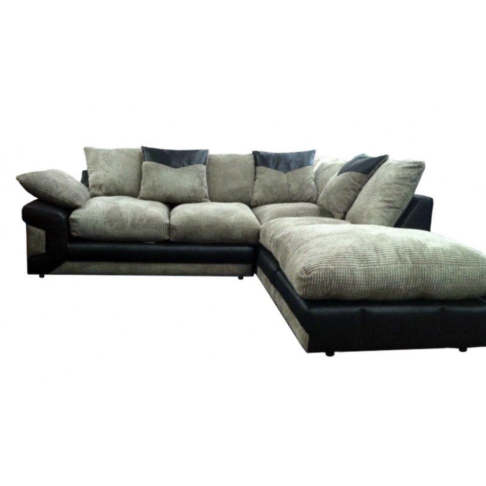 Dino Corner Sofa   Corduory Cushions Black Fabric Chenille Effect Finish       Customer reviews