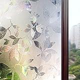 Rabbitgoo 3Dガラスフィルム 窓用フィルム 目隠し・飾りフィルム プライバシーガラスシート 遮熱断熱/紫外線カット 無接着剤 水で簡単貼り付け 貼り直しでき 再利用可能 DIY(90 x 200cm)