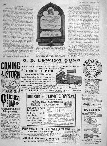 1907 AMANUEL SWEDENBORG TABLET LONDON LEWIS GUN CHIVERS