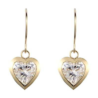 9ct yellow gold white cubic zirconia heart drop earring