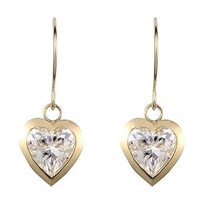 9ct yellow gold white cubic zirconia heart drop earring