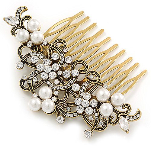 Vintage Inspired Clear Austrian Crystal White Glass Pearl Side Hair Comb In Gold Tone - 90mm 5