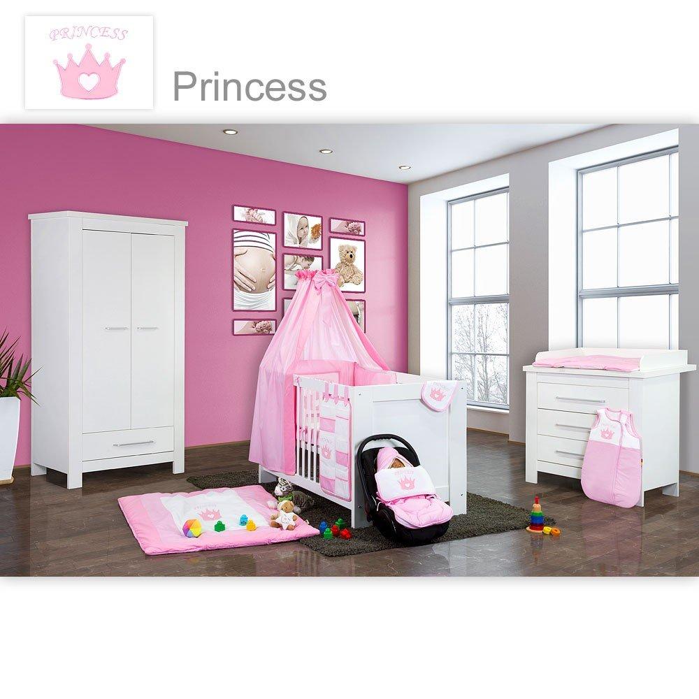 Babyzimmer Enni in weiss 21 tlg. mit 2 türigem Kl. + Princess, Rosa