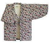 猫柄プリント綿入り久留米袢纏 はんてん 女性用 かわいい ネコ 防寒着 日本製 (フリーサイズ, 2)
