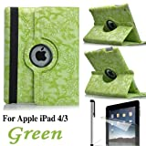 Eallc 360°Rotating Smart Grape Flower Leather Case Cover for Apple iPad 4 3 2 UK Stock (Green)