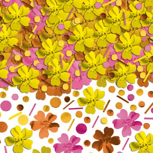 Amscan - Pink, Orange, and Yellow Hibiscus Metallic Confetti
