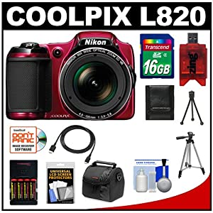 Nikon Coolpix L820 Digital Camera (Red) with 16GB Card + Batteries & Charger + Case + Tripods + HDMI Cable + Accessory Kit