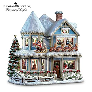 #!Cheap Thomas Kinkade 'Twas The Night Before Christmas Collectible Story House by The Bradford Exchange