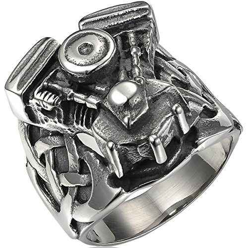 Mens Stainless Steel Black Motorcycle Small Engine Ring