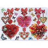 16 Pcs Romantic Hearts Flower Butterfly (1b289) - 3D Easy To Peel Art Wall Decor Sticker Hoom Room Decoration...
