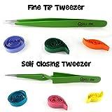 Quill On-Quilling Tweezers - Set of 2 - Quilling Tools-Combo of Fine Tip Tweezer and Self Closing Tweezer- Essential Quilling Tool (Color: green)
