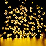 lederTEK Solar Christmas Lights 72ft 22m 200 LED 8 Modes Solar Fairy String Lights for Outdoor, Gardens, Homes, Wedding, Christmas Party, Waterproof (200 LED Warm White)