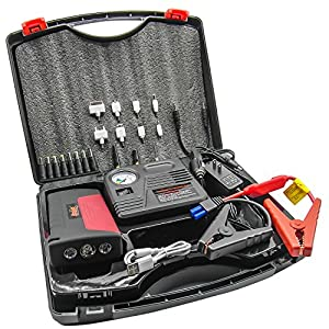 2015 Newest HyperPS Multi-function Vehicle Car Jump Starter Portable Power Bank Battery Charger Emergency Kit with LED Torch Flashlight, Survival Hammer & Blade + 150 PSI Air Compressor Tire Pump