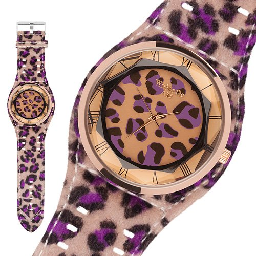 Taffstyle® Modern Frauenuhr Damen Armbanduhr Leoparden Style Damenuhr Fashion Damenarmbanduhr Analog Uhr mit Kunstleder Armband und Fell Leo Muster - Lila