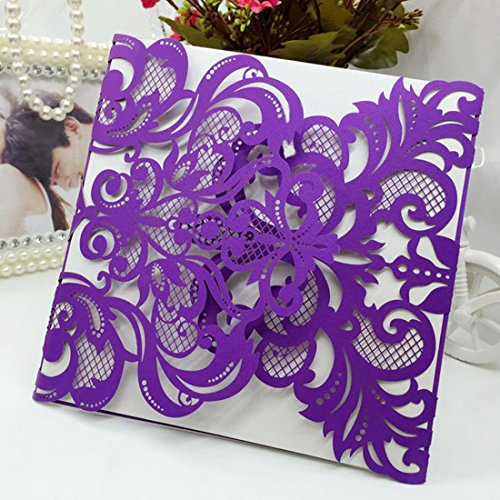 H&D 60pcs Purple Wedding Invitations Cards Laser Cut Birthday Party Invites for Marriage Engagement Bridal Shower