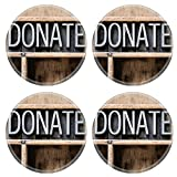 Luxlady Natural Rubber Round Coasters IMAGE ID: 36561064 The word DONATE written in vintage metal letterpress type sitting in a wooden drawer