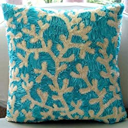 Aqua Ornate - Decorative Pillow Covers - Silk Pillow Cover with Satin Ribbon Embroidery