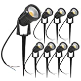 ZUCKEO 5W LED Landscape Lights 12V 24V Garden Lights Waterproof Warm White Walls Trees Flags Outdoor Spotlights with Spike Stand (8 Pack) (Color: warm white)