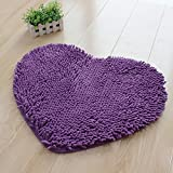 Hughapy® Super Soft Lovely Heart Love Shaped area rug,Anti-skid Chenille Door Mat carpet for Home Bedroom 50cm*60cm with 10 colors,Purple