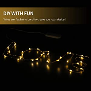 Betus 10 Feet 30 LEDs Fairy String Lights - Battery Powered - Waterproof Outdoor Indoor Decorative Lights for Christmas Weddings Parties - Warm White