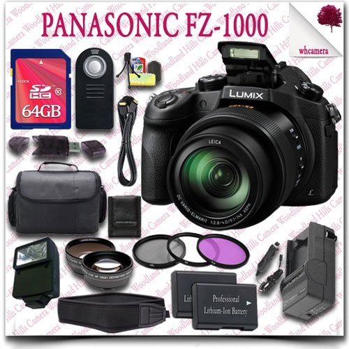 Panasonic Lumix Dmc-Fz1000 Digital Camera + Wireless Remote + 64Gb Sdhc Class 10 Card + Slr Gadget Bag + Wide Angle Lens / Telephoto Lens + 3Pc Filter Kit + External Slave Flash + Neoprene Neck Strap + Hdmi Cable 20Pc Panasonic Saver Bundle