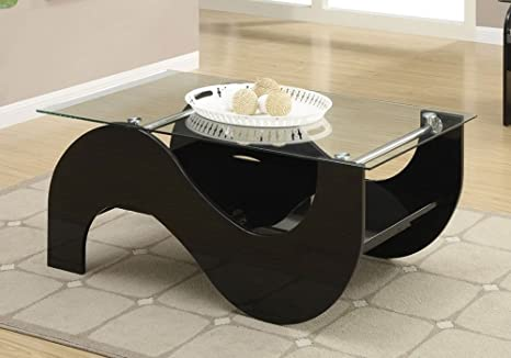 Modern S Curved Dark Wood Coffee Table w/ Tempered Glass End Table Stand Option (Coffee Table)