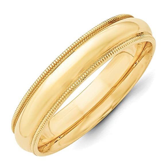 14ct Gold 5mm Milgrain Comfort-Fit Size L 1/2 Wedding Band Ring