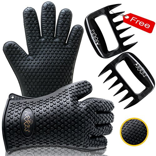 Barbecue Gloves & Pulled Pork Claws Set - Silicone Heat Resistant Grilling Accessories & Home Kitchen Tools For Your Indoor & Outdoor Cooking Needs - Use as BBQ Meat Turner or Oven Mitts (Meat Smoking Pan compare prices)